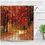Herbst Wald Landschaft Duschvorhang Ahorn Bäume Rote Blätter Straße Naturlandschaft Wand Dekor Badezimmer Stoff Badvorhänge Haken-180x180cm