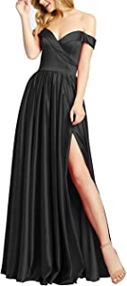 Jonlyc Women's A-Line Off The Shoulder Satin Long Prom Dress Formal Party Gowns with Slit