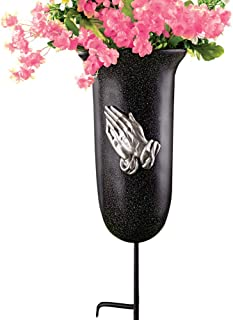 Collections Etc Outdoor Memorial Flower Vase with Stake, Black