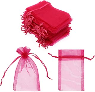 SumDirect 100Pcs 4x6 Inches Sheer Drawstring Organza Jewelry Pouches Wedding Party Christmas Favor Gift Bags (Fuchsia)