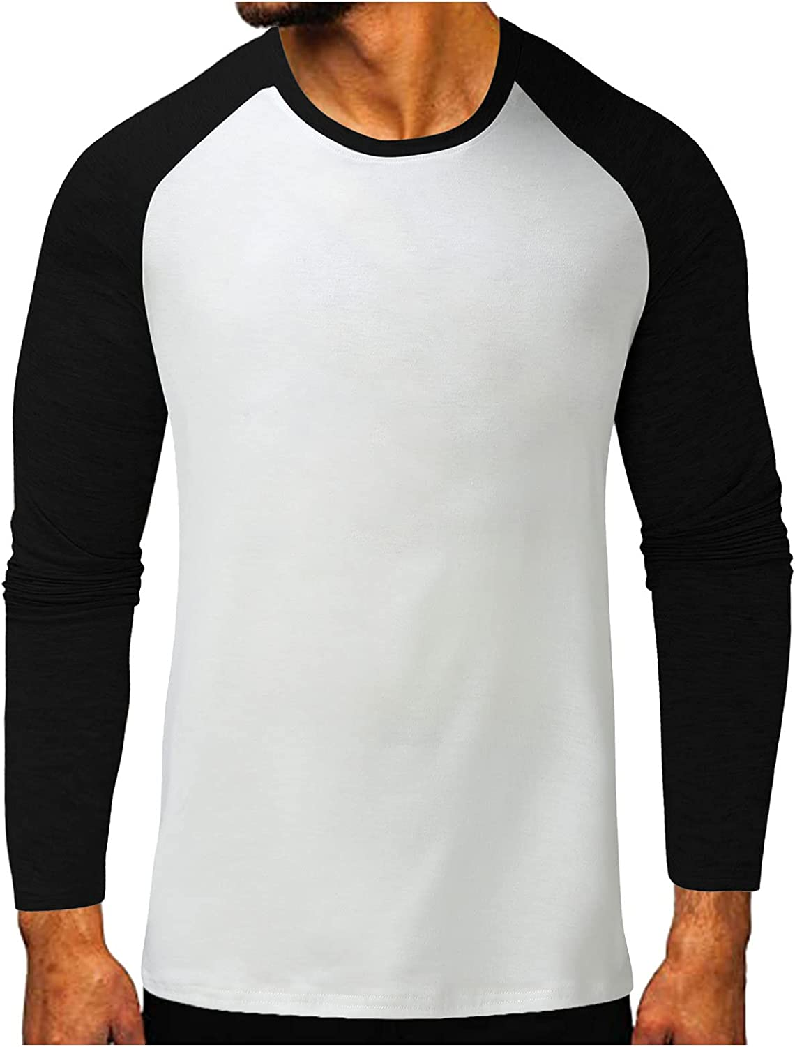 Huangse Mens Color Block T-Shirt Long Sleeve Round Neck Button Down Tees Blouse Beach Yoga Loose Fit Pullover Tops