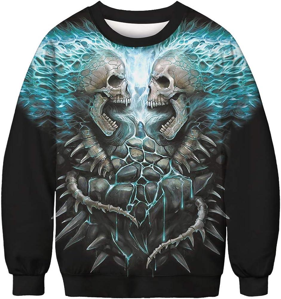 Apiidoo Ugly Christmas Sweatshirt Skull Santa Cat Funny Pullover Athletic Hoodie