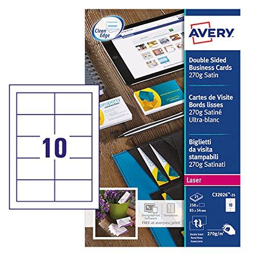 Avery Dennison C32026-25 - Tarjetas de visita (250 unidades, 270 gsm), color blanco