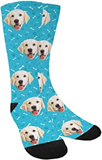 Custom Personalized Photo Pet Face Socks, Cat and Dog Tracks Paws Bones Crew Socks with Picture for Men Women