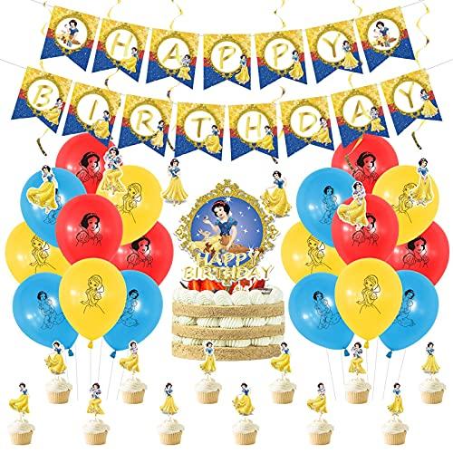 Globos Decoración De Fiesta Temática De Princesa Blanca Como La Nieve De Disney, Banner De Feliz Cumpleaños De Princesa Blanca Como La Nieve, Globo De Decoración Para Tarta Para Baby Shower, 6 Piezas