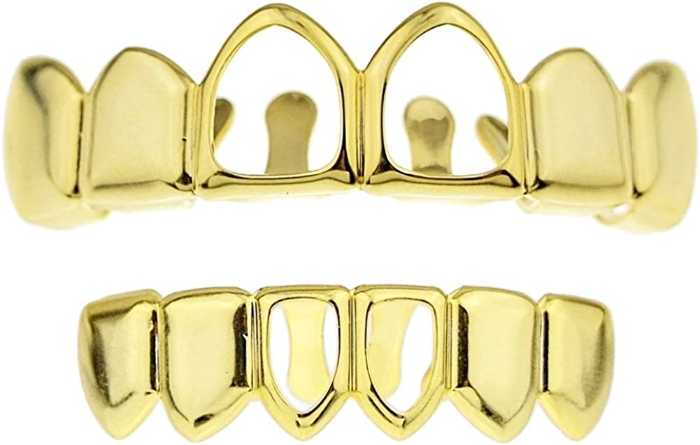 14k Gold Plated Two Open Face Front Tooth Grillz Set Top & Bottom Teeth Row Hip Hop Mouth Grills