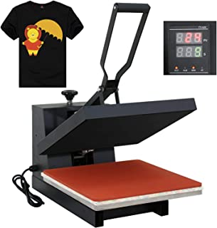 "F2C 15"" x 15"" Black Heat Press Machine Digital Clamshell Transfer Sublimation Print Press Machine for T-Shirt 110V"