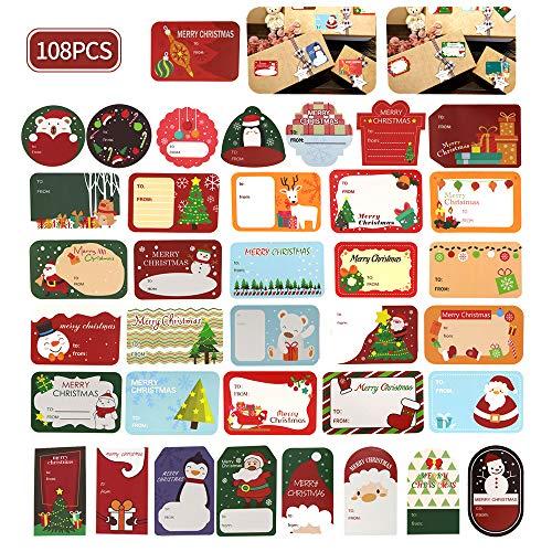 216 pegatinas de Navidad, etiquetas de nombre de árbol de Navidad, pingüino de Santa, muñecos de nieve, pegatinas decorativas de festivales de Navidad
