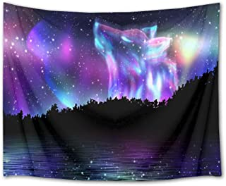 HVEST Wolf Animal Tapestry Laser Space Tapestry Wall Hanging Wolf in Starry Sky with Jungle and River Scenery Wall Tapestries for Bedroom Living Room Dorm Decor, 80Wx60H inches