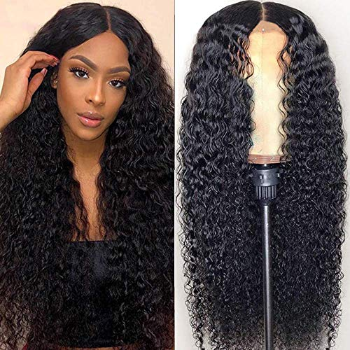 24 Inch Lace Front Human Hair Curly Wigs Brazilian Virgin Human Hair 13x4Kinky Curly Wigs for Woman Pre Plucked 150% DensityLace Frontal Wigs with Baby Hair Natural Color
