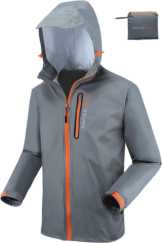 SWISSWELL Men's Cycling Running Jacket Waterproof Bicycling Windbreaker Reflective Packable Raincoat