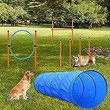 X XBEN Set de Entrenamiento Agilidad Perros - Pet Dogs Outdoor Games Kit de Entrenamiento, 60 * 180cm Tnel para Perros, Eslalom para, Aro para, Vallas, Jump Hoop Dog Agility Starter Equipment