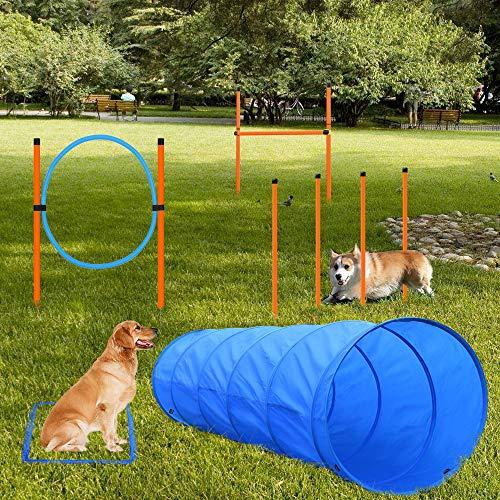 X XBEN Set de Entrenamiento Agilidad Perros - Pet Dogs Outdoor Games Kit de Entrenamiento, 60 * 180cm Túnel para Perros, Eslalom para, Aro para, Vallas, Jump Hoop Dog Agility Starter Equipment