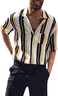 Men Summer Shirts Casual Lapel Striped Shirts Short-Sleeve Top