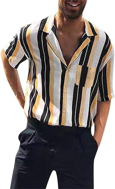 MEIbax Moda Solapa Camisa de Manga Corta a Rayas para Hombre Camisa de Verano para Hombre