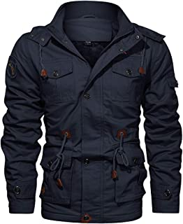 Men's Winter Military Jacket Fleece Lined with Detachable Hood Elastic Cuff and Multi Pockets