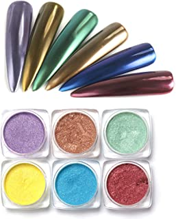 6Boxes 1g/Box Metal Chrome Superfine Laser Ultra Fine Nail Glitter Powder Dust for Nail Gel Polish Acrylic Nails(purple rose red gold sliver yellow grey blue)