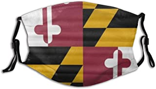 BYJHMB Cool Maryland Flag Cotton Washable Nose Wired Face Cover Filter Pocket Wide Cover with Filter
