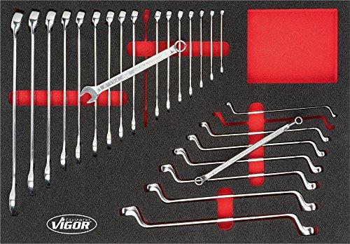 Vigor V4590 3/3+ Weichschaumeinlage Ring-Maulschlüssel-/Doppel-Ringschlüssel-Satz für VW und AUDI, Anzahl Werkzeuge: 25