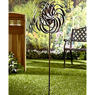 The Lakeside Collection Double Spiral Solar Garden Spinner