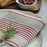 Linen & Cotton 4 x Luxus Stoffservietten ULLA – 100% Leinen (43 x 43cm) Natur/Rot - 3