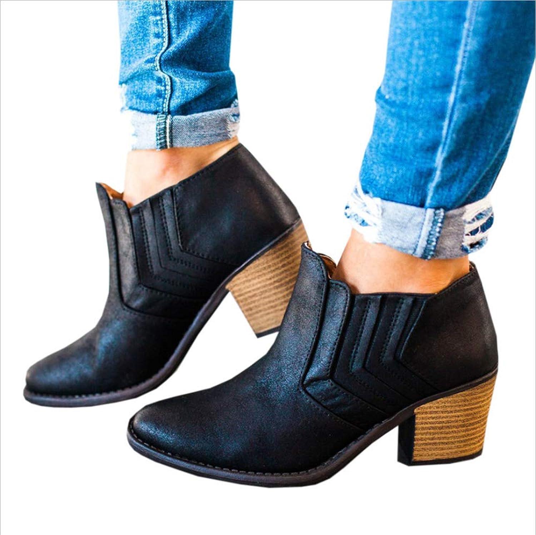 CHENSF Women's Block Heel Ankle Booties