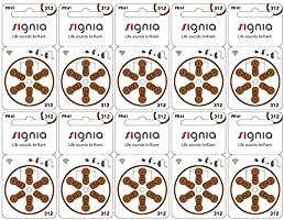 Signia PR41 (312) Hearing Aid Air Batteries, 10-Pack Set (60 Batteries)