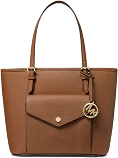 Michael Kors Women's Jet Set Medium Pocket ' Saffino Leather Tote Bag - Brown