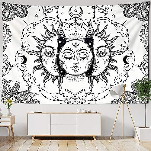 WERT Blanco Negro Colorido Sol Luna Mandala Tapiz Colgante de Pared Tapiz Celestial Tapiz Hippie Tapiz de Pared A3 100x150cm