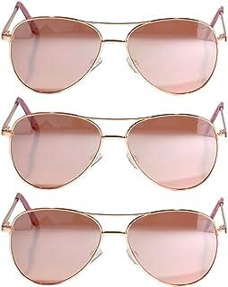 Set of 3 Pack Aviator Style Sunglasses Colored Metal Frame Mirror Lens Smoke Lens OWL