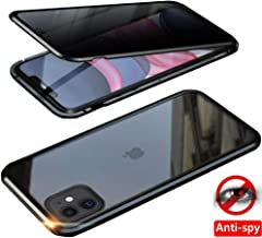 """IQIYEVOLEW Anti-Peep iPhone 11 Pro 5.8"""" Case, Anti-spy Magnetic Clear Double-Sided Privacy Screen Protector Magnets Metal Bumper 360°Full Body Cases (Black, iPhone 11 Pro 5.8""""(Anti-Spy Double Glass))"""