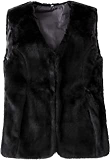 Women's Faux Fur Vest Warm Sleeveless Jacket Gilet with Pockets
