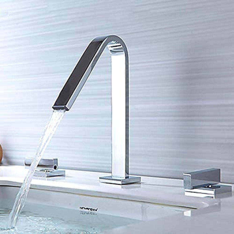 Wasserhahn-Keramik-Ventil montiert Deck mit zwei Griffen und Wasserhahn für Waschbecken