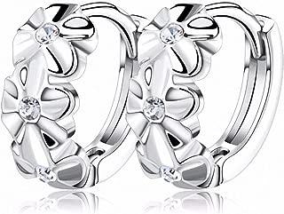 Womens Drop Dangle Earrings Lovely Silver Earring 3 Flowers Designs with Austrian CZ Crystal Latest Model Fashion Earrings