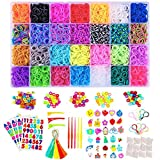 Affect Shop 12000+pcs 28 Colors Rubber Bands Loom Kit with Accessories Weaving Bracelet Set Girl Colorful Rubber Bands