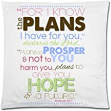 Bible Verse - Jeremiah 29:11 For I Know The Plans I Have For You Cushion Case - Decorative Square Throw Pillow Cover Cushion Case Pillowcase with Hidden Zipper Closure - 18x18 inches, One-sided Print