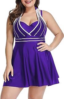 Lalagen Womens Halter Swimdress Plus Size Two Piece Swimsuit Tankini Set