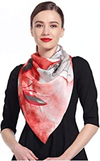 MUZIWENJU Silk Silk Scarf, Ladies' Large Square Scarf, Silk Scarf, Shawl Thin Scarf, Suitable for Spring, Summer, Autumn and Winter (Three Colors Optional) (Color : Orange)