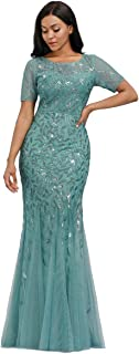 Women's Illusion Embroidery Elegant Mermaid Evening Dress...