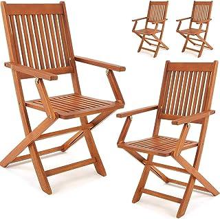 Deuba Set Juego de 4 sillas Sydney de Madera de Acacia sillas Plegables con Respaldo Asiento de jardín Exterior