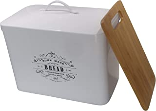 Metal bread box + cutting board. Storage bin kitchen decor. Kitchen storage container. breadbox basket. kitchen countertop organizer. Tin box. Premium Present brand.
