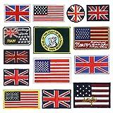Toppa termoadesiva da applicare con bandiere ricamate, 14 pezzi, kit fai da te per vestiti...