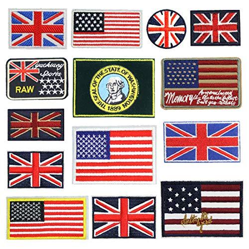 Toppa termoadesiva da applicare con bandiere ricamate, 14 pezzi, kit fai da te per vestiti, giacche, zaini, jeans
