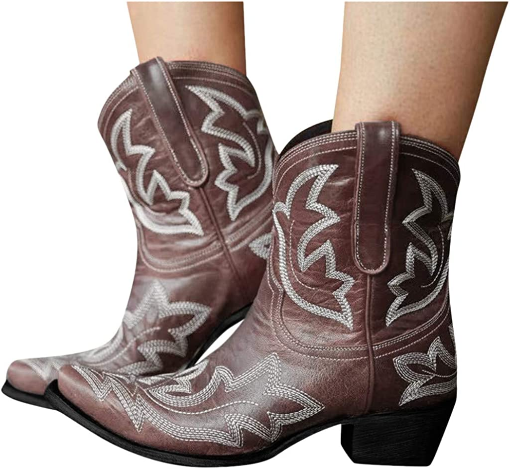 Hbeylia Cowboy Boots For Women Vintage Embroidery Pointed Toe Chunky Mid-Heels Western Cowgirls Boots Retro Slip On Wide Mid Calf Boots Riding Knight Ankle Booties
