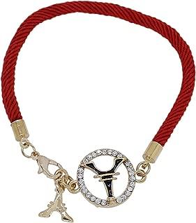 Roskio Fashion Jewelry Golden Eiffel Tower Crystal Rhinestone Ring Red String Bracelet for Teen Girl Women Dressing Party Wedding Birthday Gift