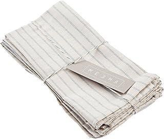 MEEMA Cotton Napkins Fabric Set of 4   Eco Friendly Napkins Made with Upcycled Denim and Cotton   Natural Napkins Blue Str...