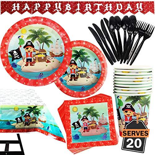 Kompanion Set de 142 Piezas Plato de Pirata para Fiestas Incluye Pancarta, Platos, Vasos, Cubiertos, Servilletas, Mantel, Cucharas, Tenedores y Cuchilos, 20 Personas