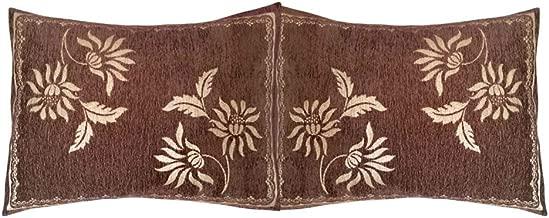 2 pcs Chenille Brown Floral Pattern 22