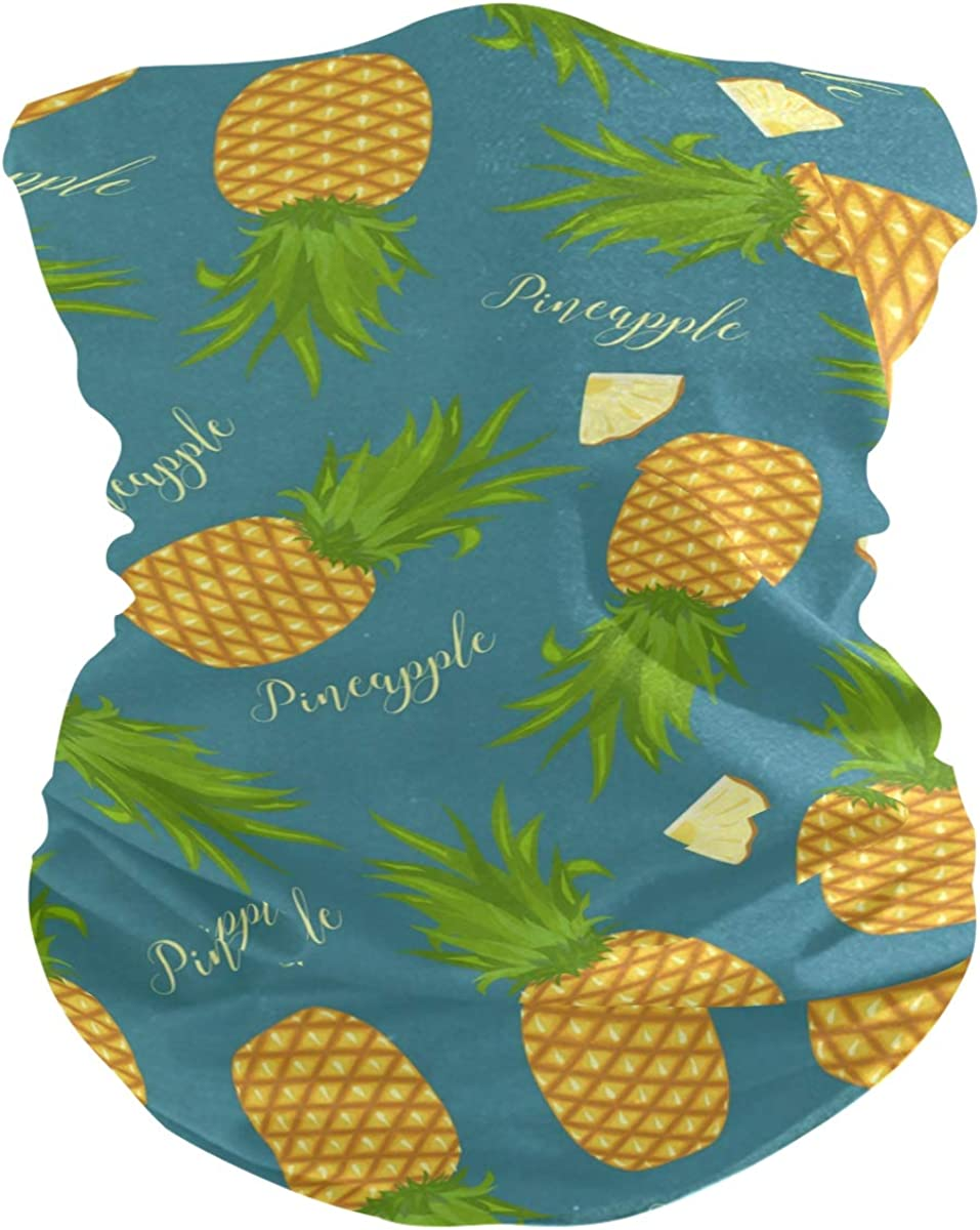Face Mask Bandana Balaclava Neck Gaiter for Women Men, Pineapples Face Sun Dust Mask Magic Scarf Headwear for Running Fishing Outdoor