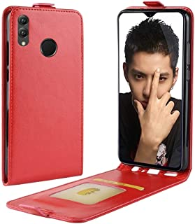 حقيبة جلدية متعددة الوظائف نمط الأعمال العمودي الوجه غطاء حماية خلفي جلد لهواوي هونر 8X، مع فتحة بطاقة (أسود) (اللون : أحمر)